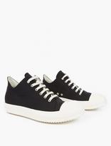 Rick Owens Black Canvas Low-Top Sneakers