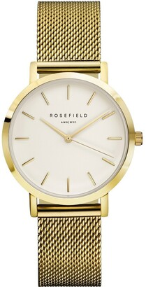 ROSEFIELD TWG-T51 33MM Tribeca White Dial with Gold Mesh
