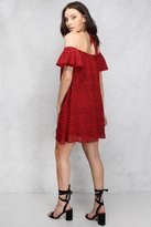 Rare Red Leopard Print Off Shoulder Swing Dress