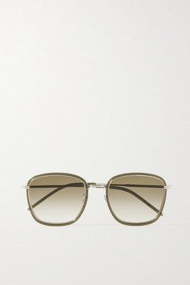 Saint Laurent Square-frame Acetate And Silver-tone Sunglasses - Green