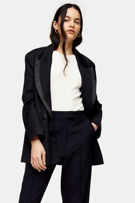 Topshop Womens Idol Black Premium Double Breasted Blazer - Black
