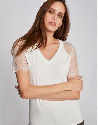 Morgan V-Neck T-Shirt with Short Lace Sleeves