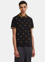 Gucci Embroidered Short Sleeve Bee Polo Shirt In Black
