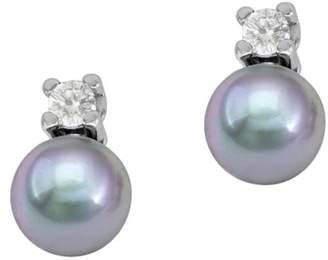 Majorica Sterling Silver, 4MM Organic Man-Made Grey Pearl & Crystal Stud Earrings