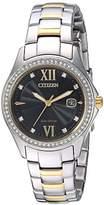 Citizen Women's 'Eco-Drive' Quartz Stainless Steel Casual Watch, Color:Two Tone (Model: FE1144-85E)