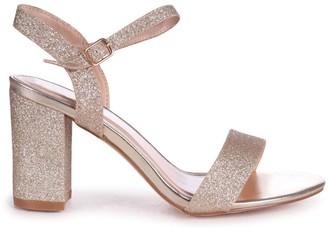 Linzi SKYLINE - Gold Glitter Open Back Barely There Block Heeled Sandal