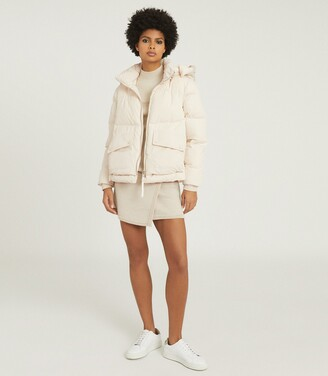 Reiss Paige - Puffer Jacket With Removable Hood in Cream