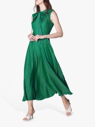 LK Bennett Connie Spot Midi Dress, Emerald Green