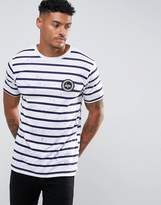 Hype T-shirt In White With Stripes And Speckle