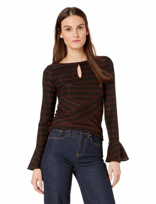 ECI New York Women's Striped Neck Keyhole top with Flutter Sleeve Details
