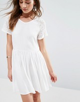 Glamorous Smock Dress With Lace Sleeves
