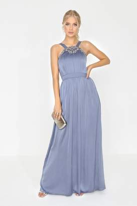Little Mistress Lavender Grey Jewel Maxi Dress