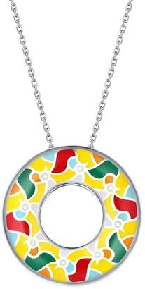 Vedantti .925 Sterling Silver Madhubani Art Multi Color Enamel Peacock Open-Circle Pendant