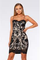 Quiz Black And Stone Mesh Bodycon Dress