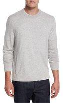 Neiman Marcus Cashmere-Silk Crewneck Sweater, Silver Ash