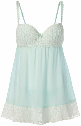 Cinema Etoile Women's Deanna Molded Cup Chiffon Babydoll with Ivory Pleated Lace Trim