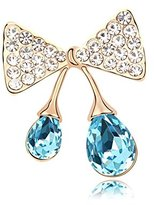 Miki&Co Golden Swarovski Elements Women's Crystal Bow Drop Brooch, with a Gift Box