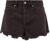 Raey Tahiti Frayed-hem Denim Shorts - Womens - Black