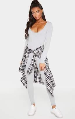 PrettyLittleThing Grey Marl Cotton Elastane Scoop Neck Jumpsuit