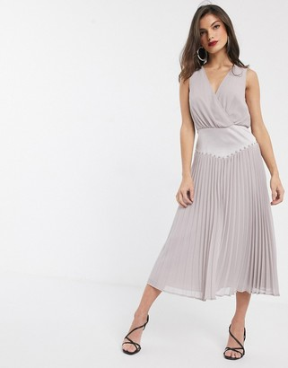 Asos DESIGN drop waist stud detail pleat midi dress