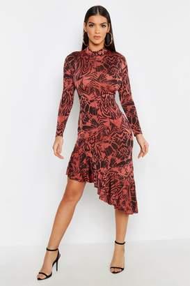 boohoo Animal Print Ruffle Hem High Neck Midi Dress