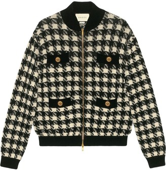 Gucci Houndstooth Pattern Bomber Jacket