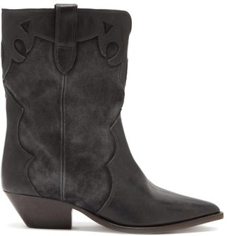 Isabel Marant Duoni Leather And Suede Western Ankle Boots - Black