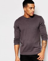 Asos Crew Neck Sweater In Gray Nep Cotton