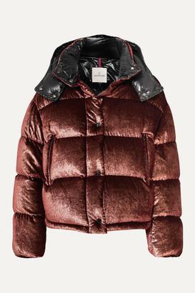Moncler Hooded Quilted Metallic Velvet Down Jacket - Burgundy