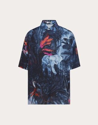 Valentino Short-sleeve Shirt With Mural Jungle Print Man Multicolor Viscose 100% S