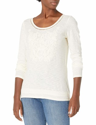 Tribal Women's L/S Embroidered TOP-Eggshell XXL