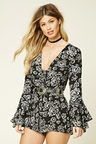 Forever 21 FOREVER 21+ Floral Lace-Up Front Romper
