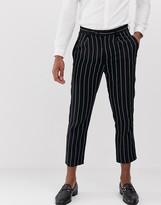 Devils Advocate slim fit linen pinstripe pleated cropped pants
