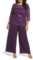 Alex Evenings Plus Size Women's Embroidered Top & Chiffon Pants