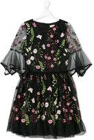 David Charles Kids - embroidered floral dress - kids - Polyester/Acetate - 14 yrs