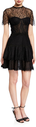 Jonathan Simkhai Mixed Lace Short-Sleeve Bustier Dress