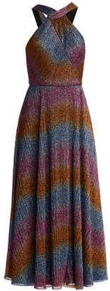 ML Monique Lhuillier Halterneck Rainbow Shine Dress