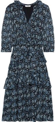 ML Monique Lhuillier Tiered Ruffle-trimmed Floral-print Georgette Midi Dress