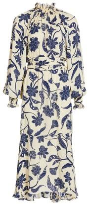 Johanna Ortiz Sacred Writing Silk Midi Dress