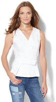 New York & Co. 7th Avenue - Madison Stretch Shirt - Wrap-Front Peplum