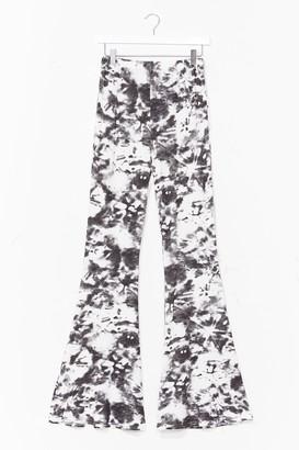 Nasty Gal Womens Choose Happy Tie Dye Flare Pants - Black