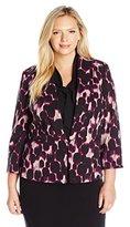 Kasper Women's Plus Size Leapord Print Shantung Jacket