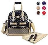 Hoxis Multifunction Polka Dots Baby Boom Backpack Diaper Bag (Upgraded Version Dark Blue)