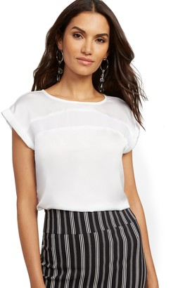 New York & Co. Petite Contrast-Inset Top - 7th Avenue
