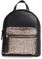 Girl's Omg Glitter Pocket Mini Backpack - Black