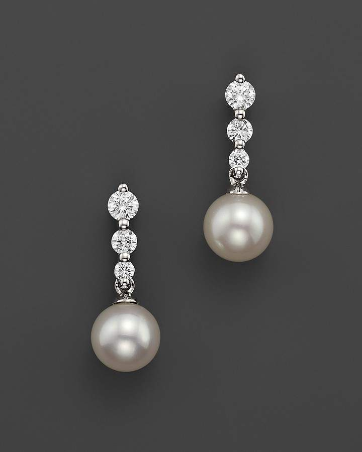 Bloomingdale's Cultured Freshwater Pearl and Diamond Earrings in 18K White Gold, 7mm