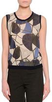 Piazza Sempione Scoop-Neck Delaunay Printed-Front Shell, Navy