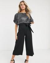 New Look sequin culotte jumpsuit in black