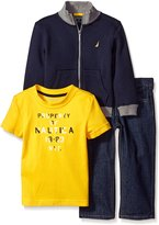 Nautica Boys' Little Three Piece Fleece Set with Convertible Collar Jacket,Short Sleeve Tee,Denim Pant