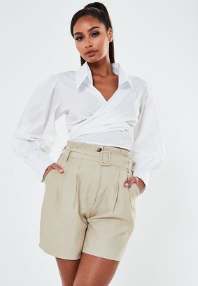 Missguided Petite Cream Belted Utility Shorts